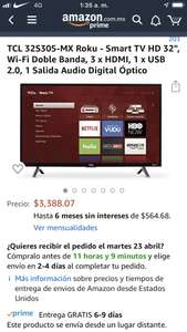 "Amazon: Pantalla TCL Smart TV HD 32"" con Roku"