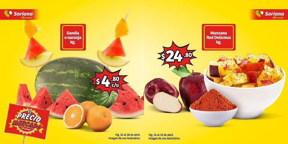 Soriana Mercado y Express: Sandía ó Naranja $4.80 kg... Manzana Red $24.80 kg.