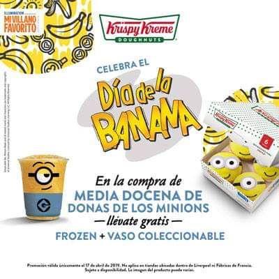 krispy kreme: Día de la banana, Compra media docena de donas minions y llevate gratis un frozen + vaso