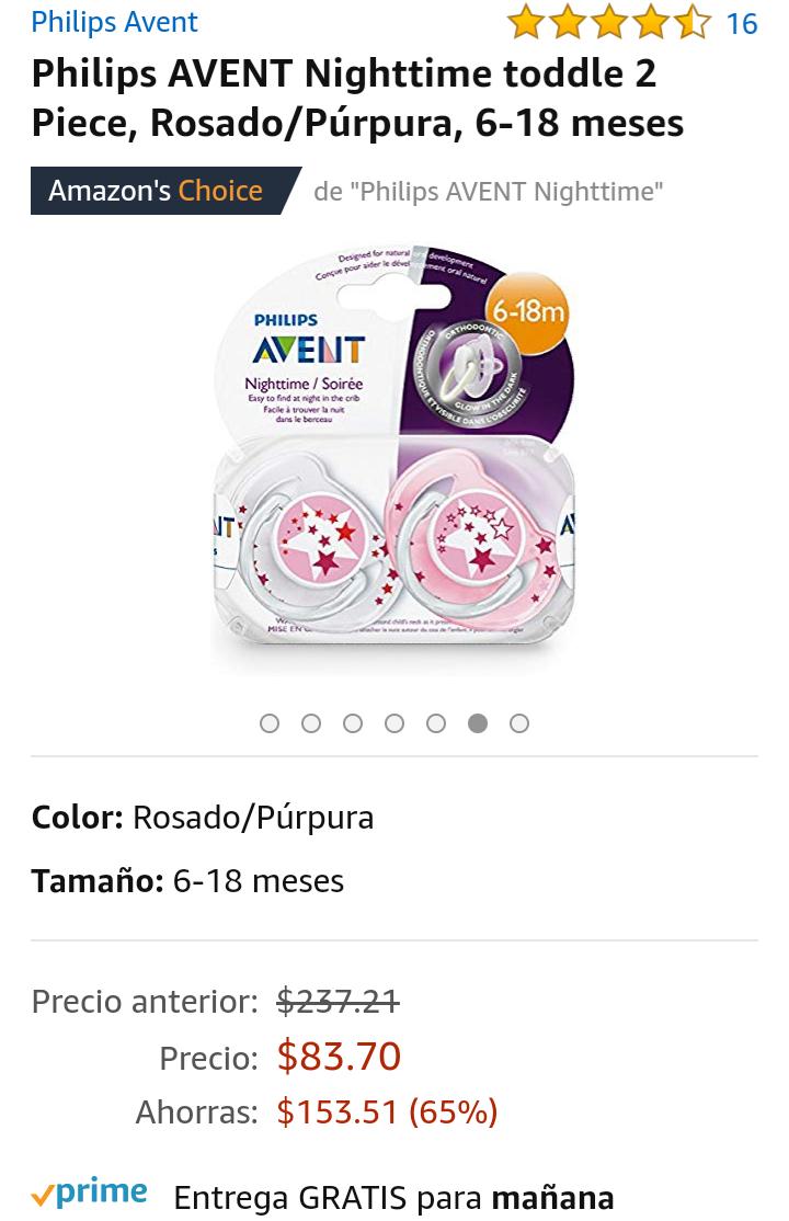 Amazon: Chupón nocturno AVENT Philips ( 2 pz)