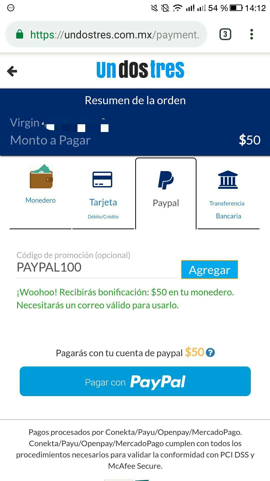 Undostres: Cashback $50 en monedero al pagar con PayPal en recargas, servicios, TAG, cine (se puede aplicar 2 veces)