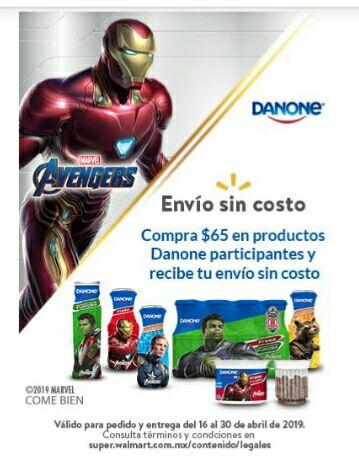 Walmart en linea: envio sin costo al comprar $65 en productos participantes Danone o  2 cajas de cereal Nestlé (iguales o combinadas) l