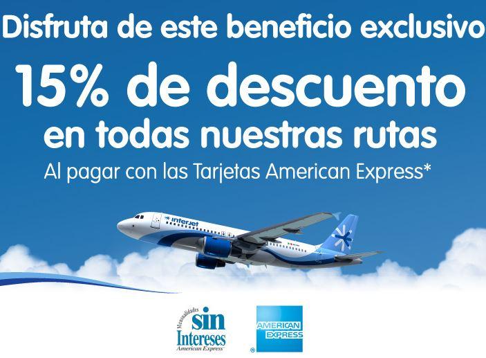 Interjet: 15% de descuento en todas las rutas con American Express