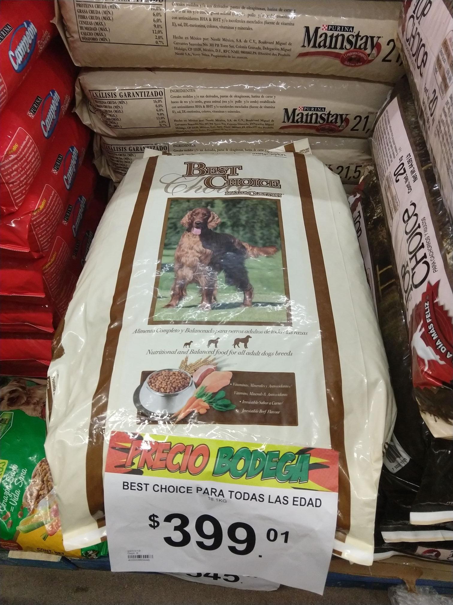 Bodega Aurrera: Croquetas Best Choice 18.1kg en liquidación