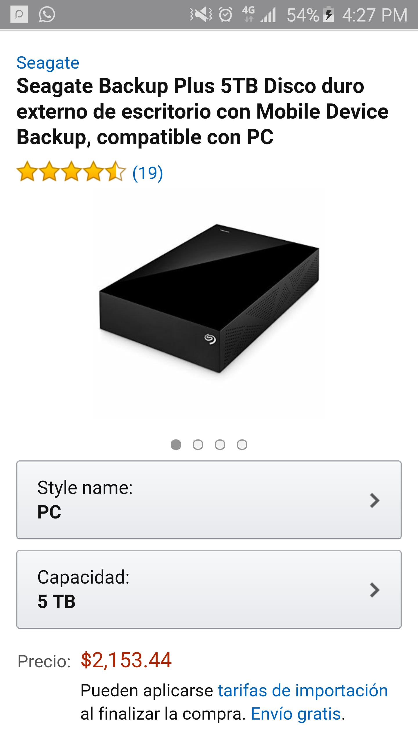 Amazon: disco duro externo 5tb a $2,154 ($1,854 con Banamex)