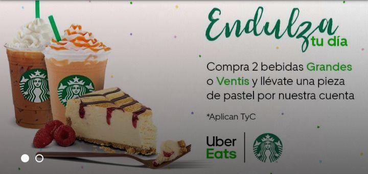Uber Eats: Starbucks Pieza de Pastel Gratis en la Compra de Dos Frapuccinos