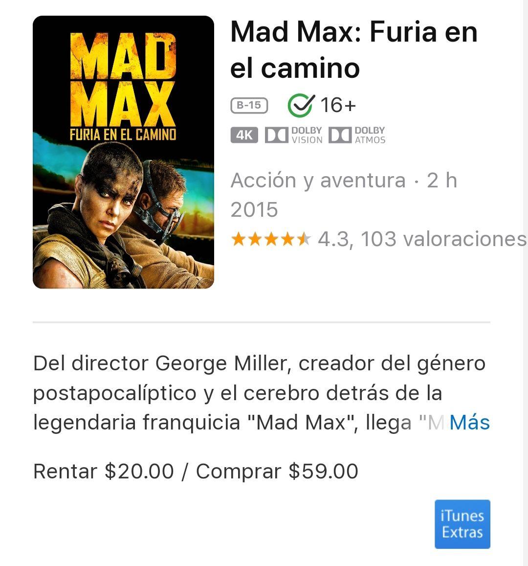 ITunes: Mad max fury road en 4k