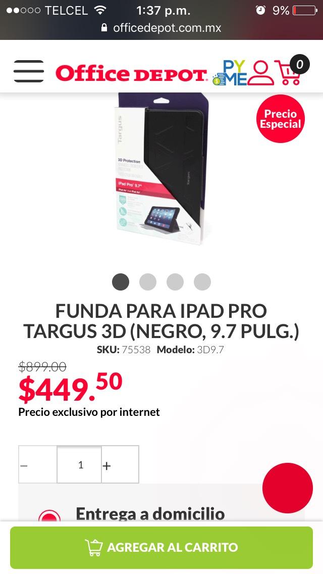 """Office Depot: Funda para IPad """"9.7"""" Targus"""
