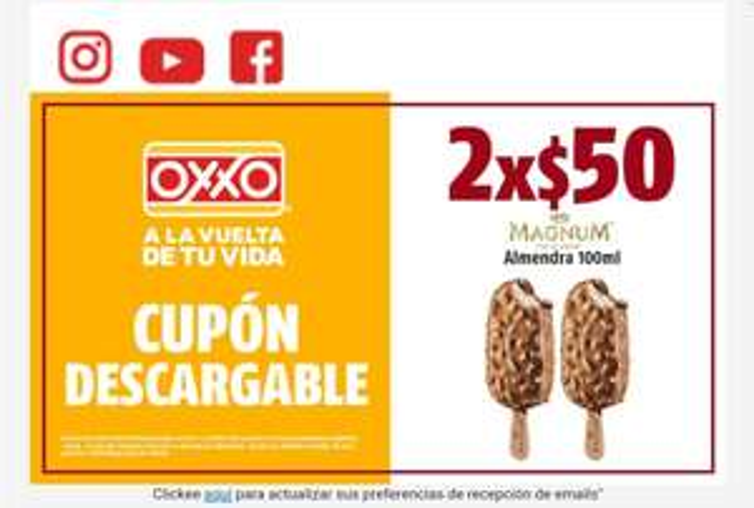 Oxxo: Magnum Almendra 100ml.  2x$50