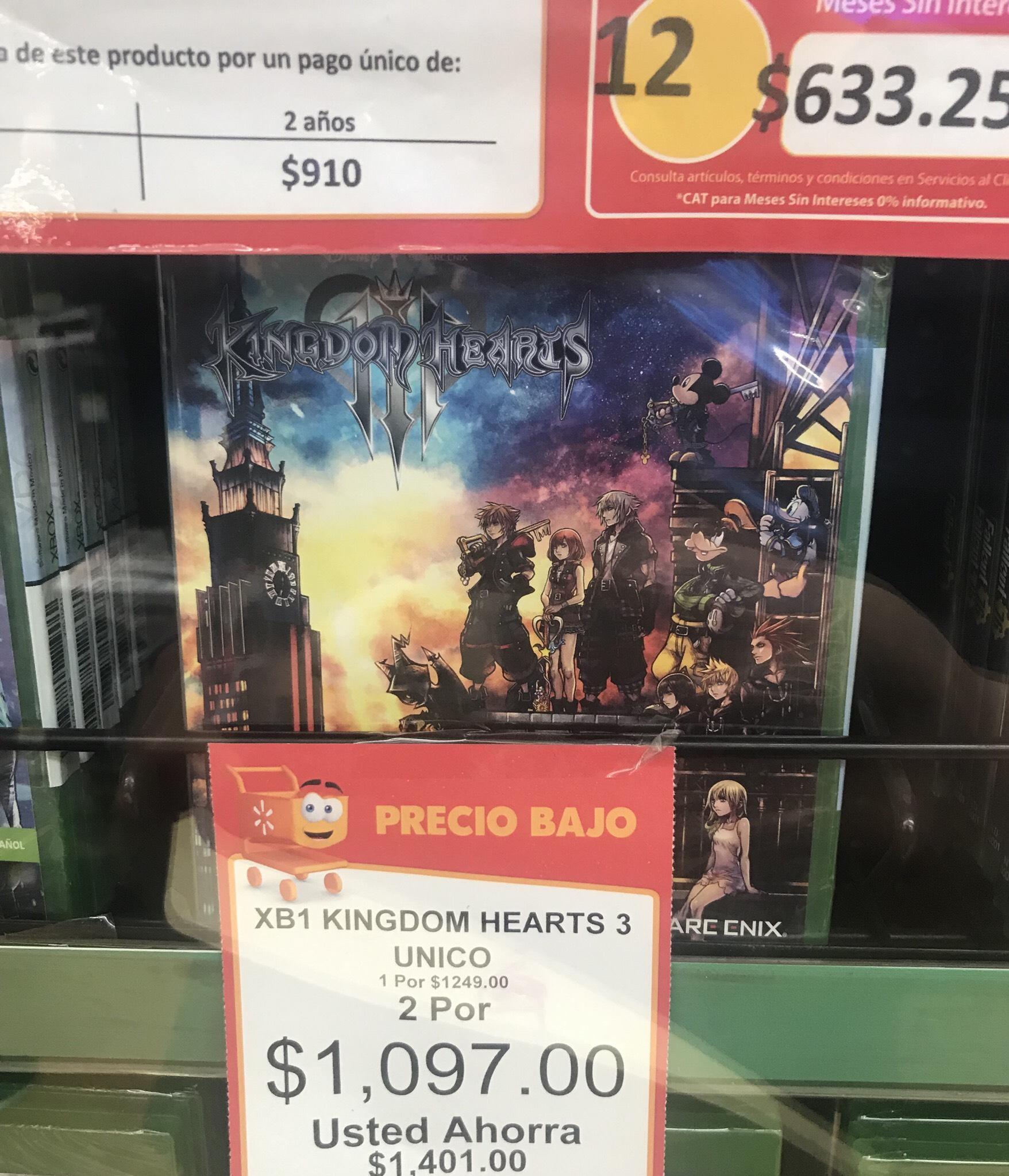 Walmart: Kingdom Hearts 3, 2x $1097, cada uno sale en $549