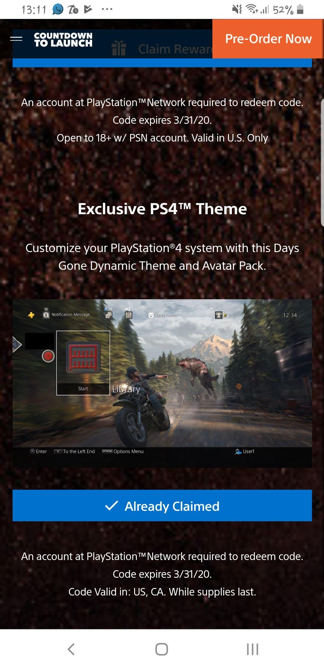PlayStation Store: Tema y Avatares de Days Gone Gratis