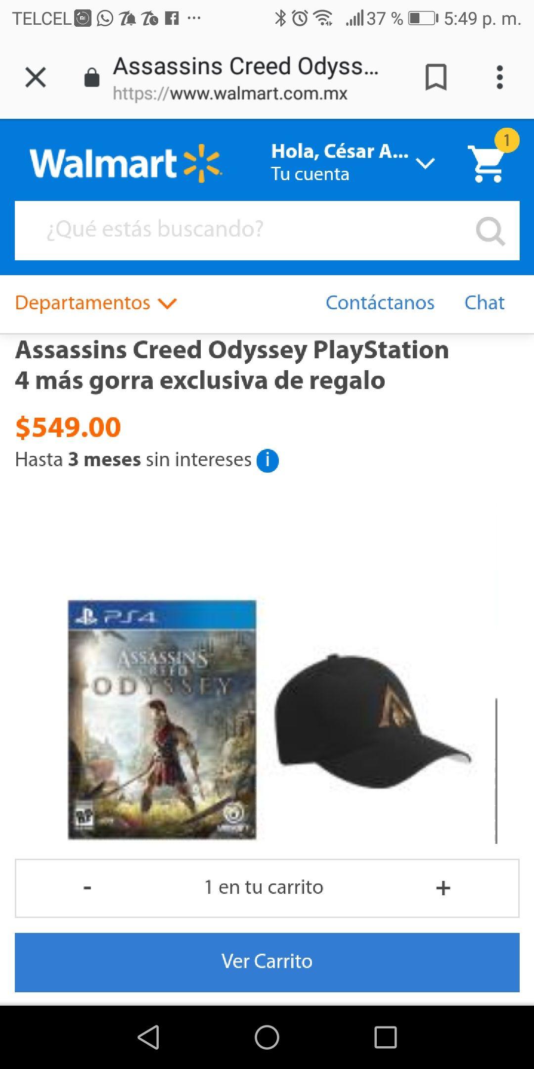 Walmart en línea: Assassins Creed Odyssey para PS4 + gorra