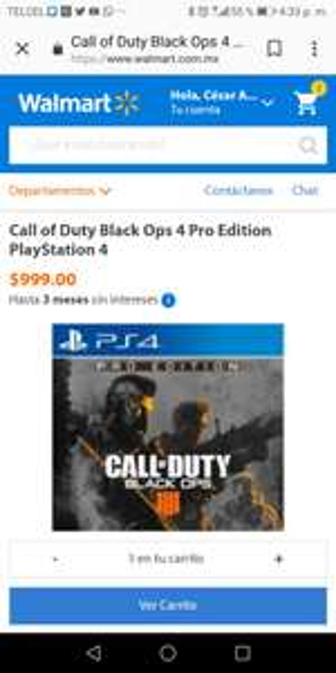 Walmart en línea: Call of Duty Black Ops 4 Pro Edition para PS4