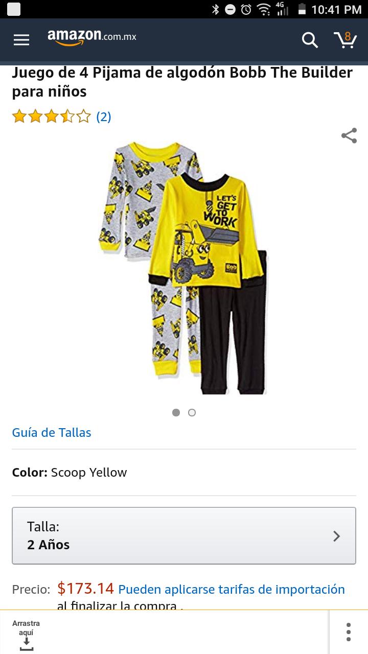 """Amazon MX: Dos pijamas para niño de """"Bob The Builder"""", talla 2 años (Vendido por Amazon USA)"""