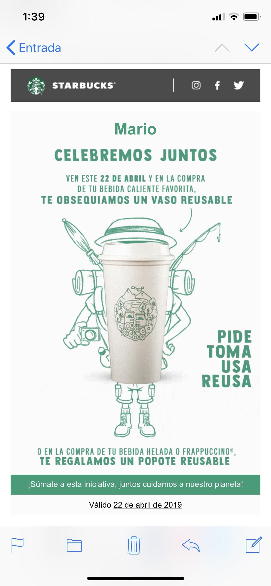 Starbucks: vaso o popote reusable gratis