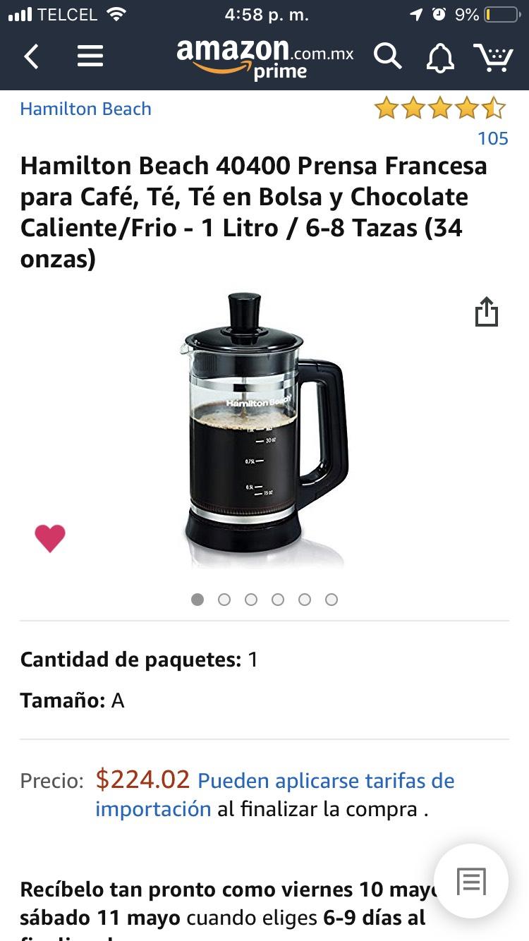Amazon MX: Prensa Francesa para café Hamilton Beach 1lt (Vendido por Amazon USA)