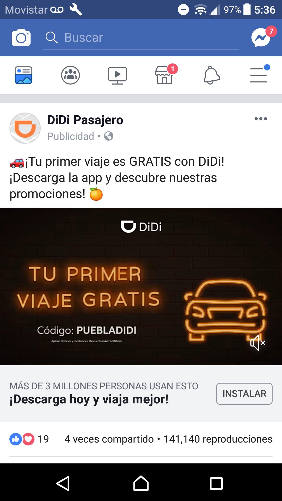 Didi: Primer viaje gratis en Puebla