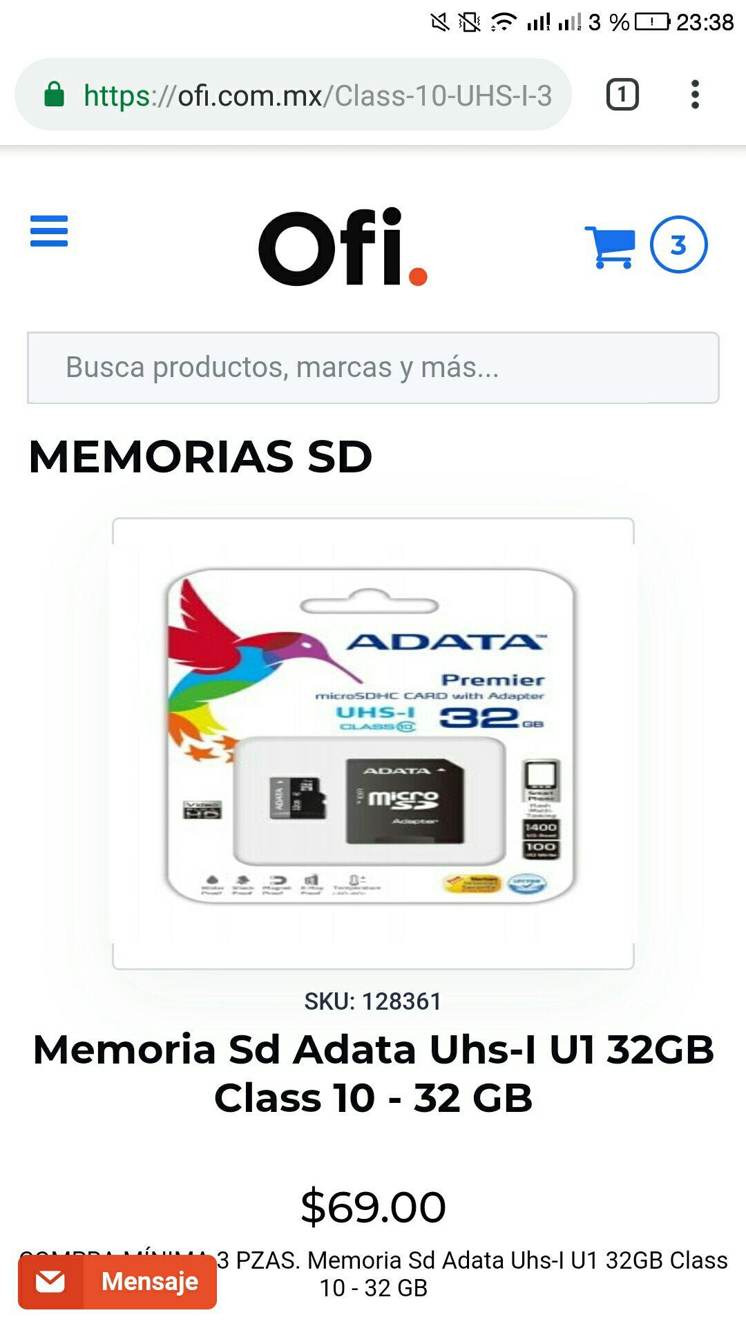 Ofi: Memoria Micro SD de 32 GB Adata Clase 10 UHS-1 con envío gratis (Compra mínima de 3 unidades)