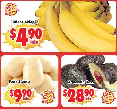 Martes de frutas y verduras Soriana agosto 20 y 21: plátano $4.90 y más