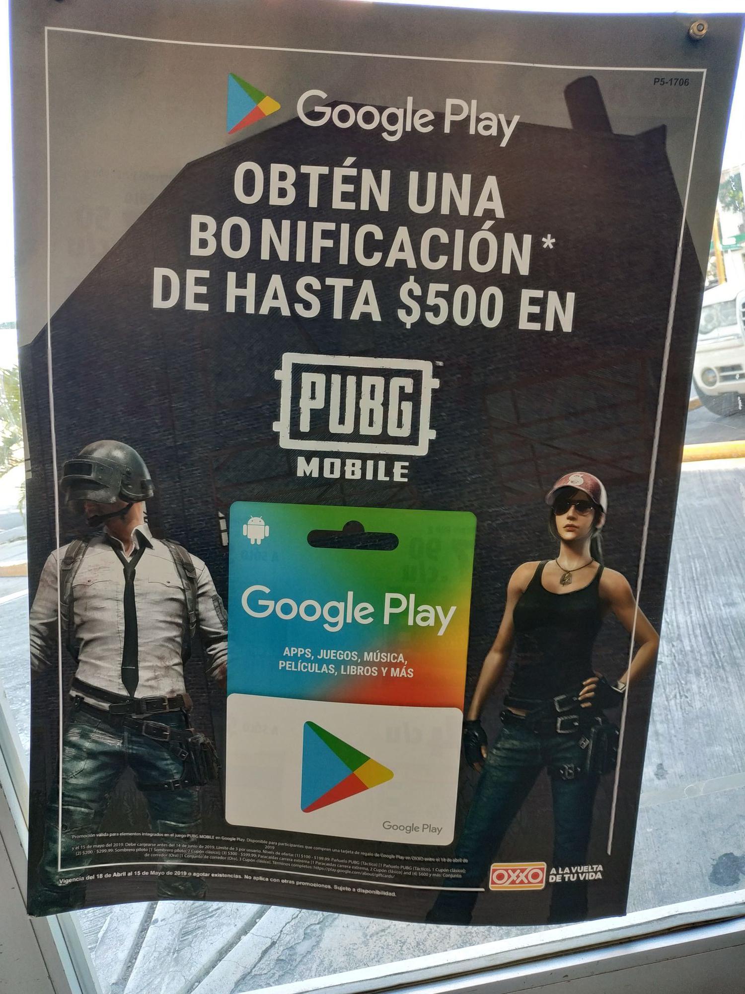 Oxxo: Promoción al comprar una tarjeta de Google play con PUBG