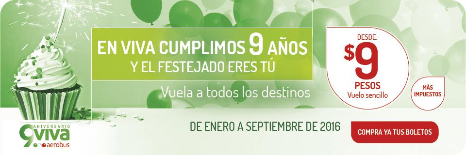 Aniversario Vivaaerobus: vuelos a $9 más impuestos (redondo Tijuana $632 y Cancún $584)