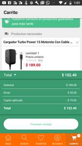 Linio App: Cargador turbo power Motorola a 152.40