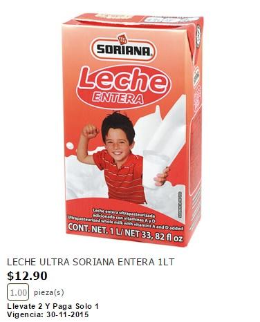 Soriana: 2 x 1 Leche Soriana 1 Lt (Entera, Light, Semidescremada)