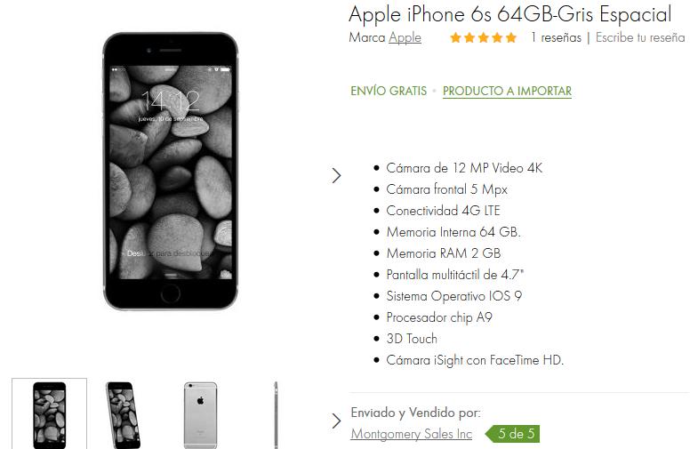 Linio: iPhone 6s 64G Gris