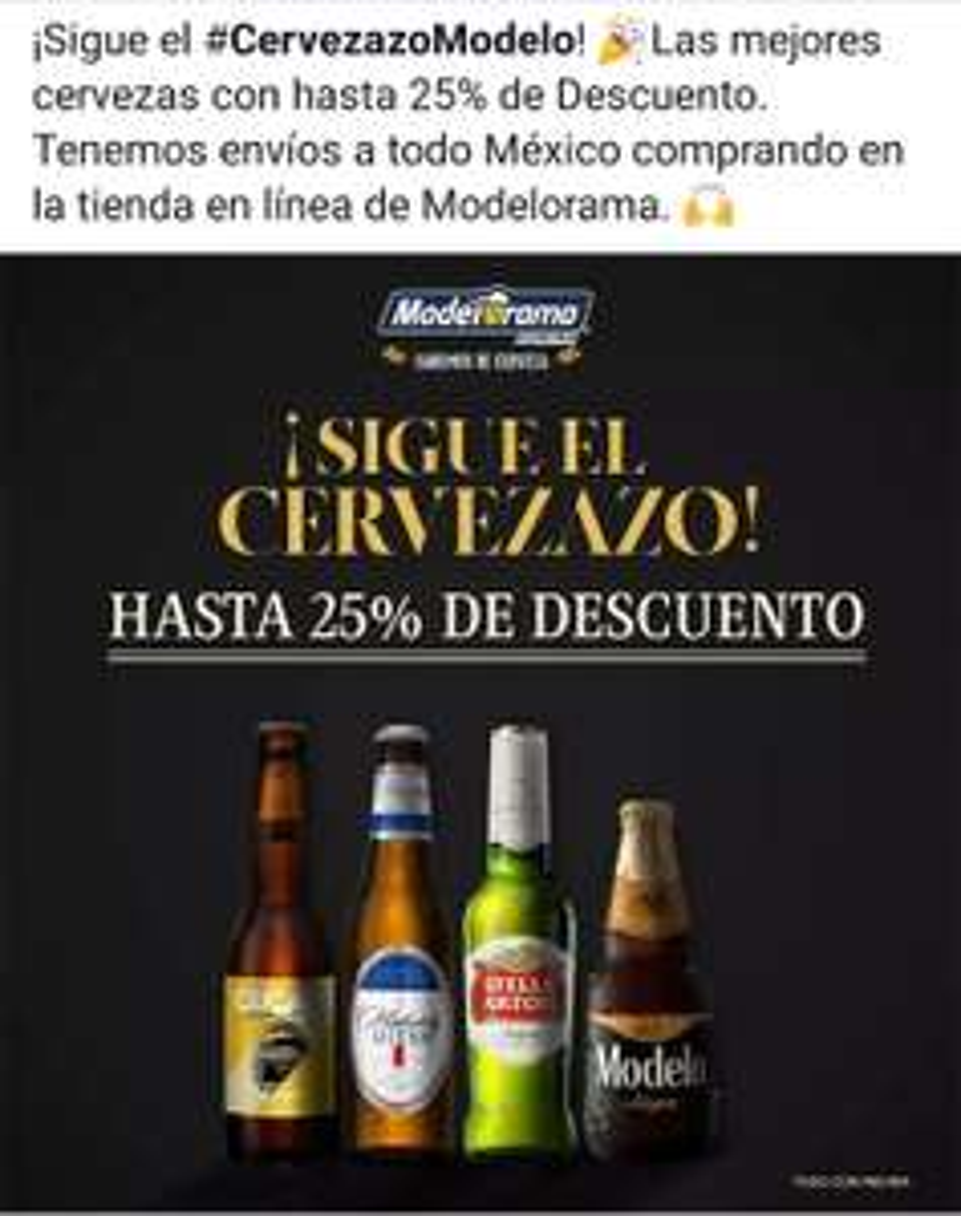 Modelorama Cervezazo: Obtén hasta un 25% de descuento en producto seleccionado en línea.