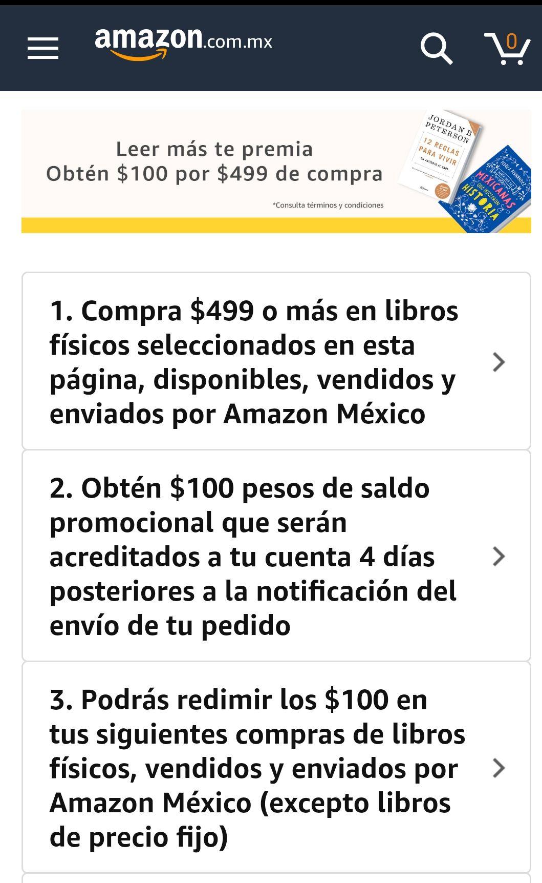 Amazon: $100 de regalo por $499 en compras de libros seleccionados