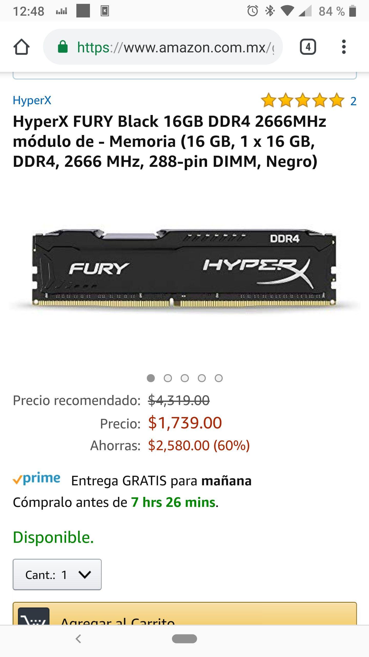 Amazon: Ram HiperX Fury ddr4 2666 16gb