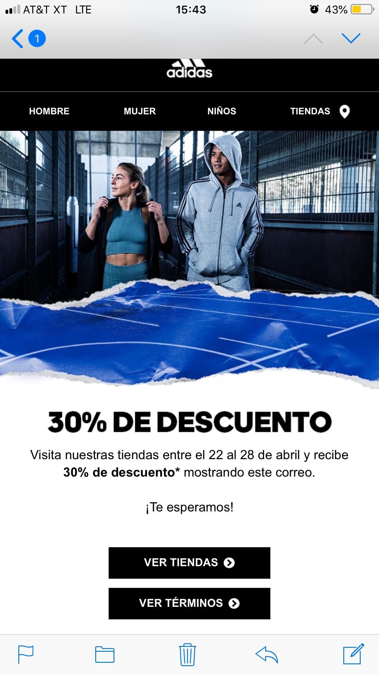 Adidas: 30% de descuento en Adidas