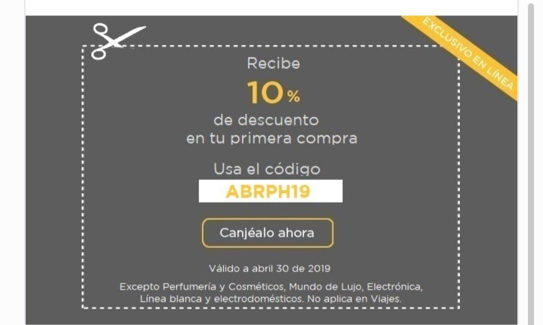 Palacio de Hierro: Cupón 10% descuento en primera compra