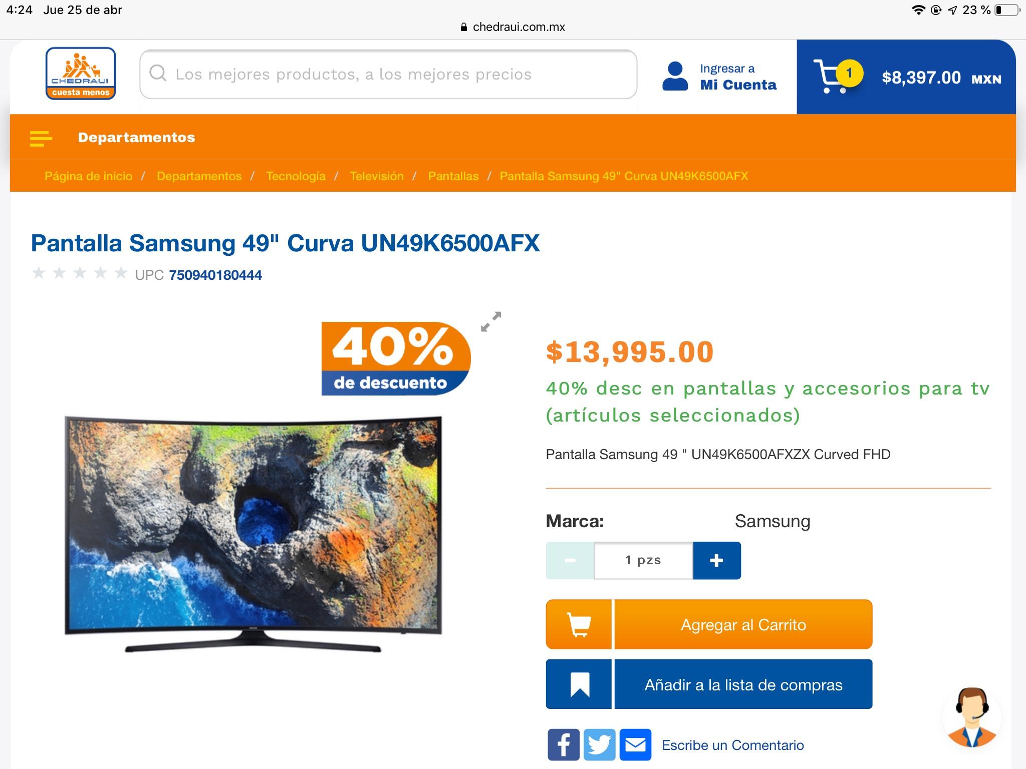"""Chedraui: Pantalla Samsung 49"""" Curva FHD"""