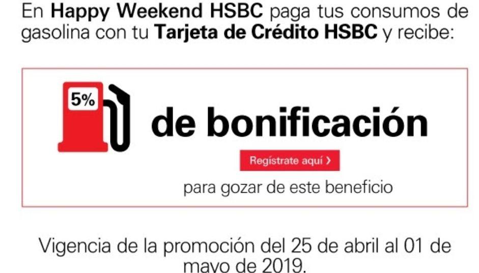 HSBC: 5% de bonificación en gasolina X 7 dias