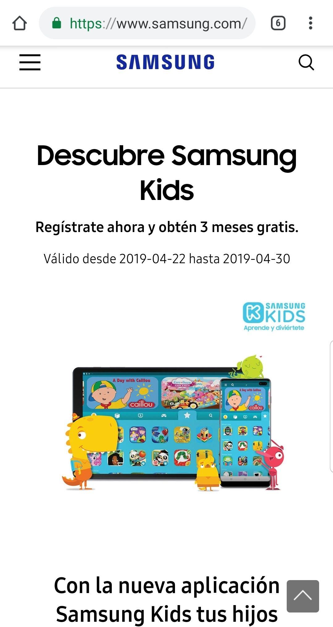 Samsung : 3 meses gratis Aplicación Samsung Kids