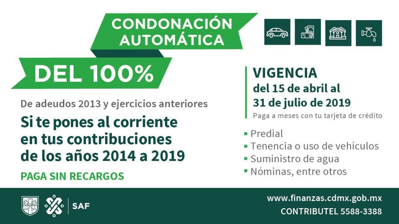 CDMX: Condonación de recargos predial, agua, tenencia 2013 y anteriores pagando 2014-2019