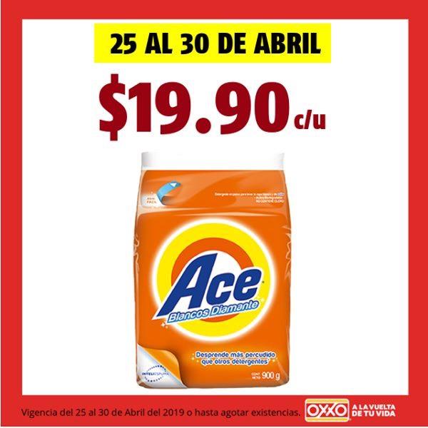 Oxxo: Detergente Ace 900grs a solo $19.90c/u al 30 de Abril 2019