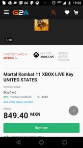 G2A: Mortal Kombat 11 Xbox one Digital