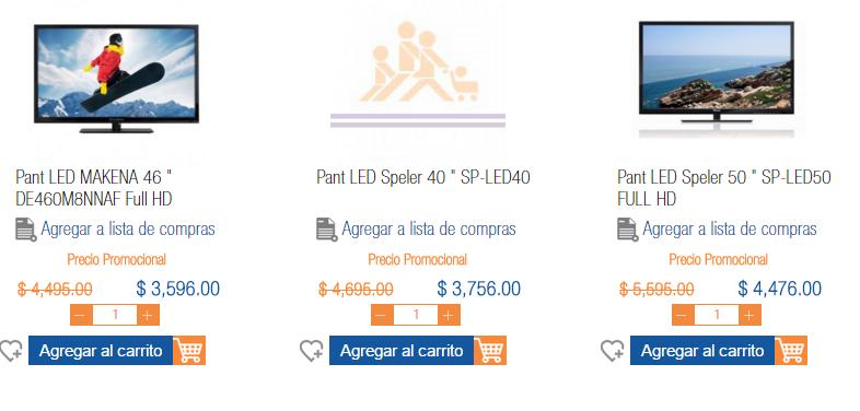 chedraui en linea : pantalla makena 46¨ $3596 o speler de 50¨ $4476