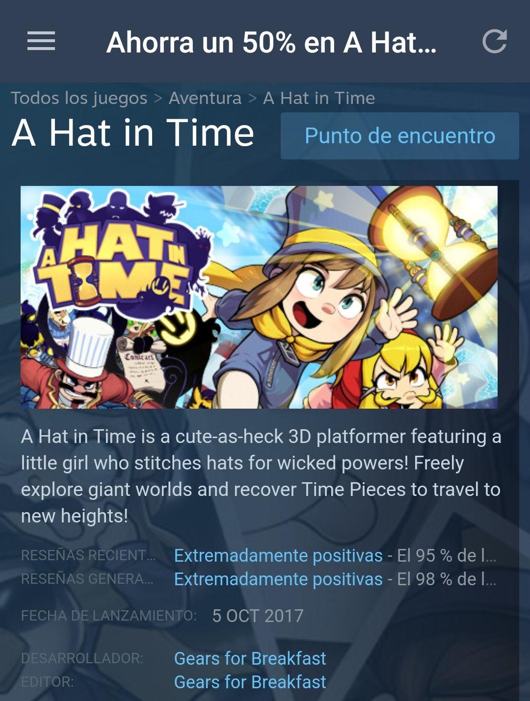 Steam: A Hat in Time con 50% de descuento