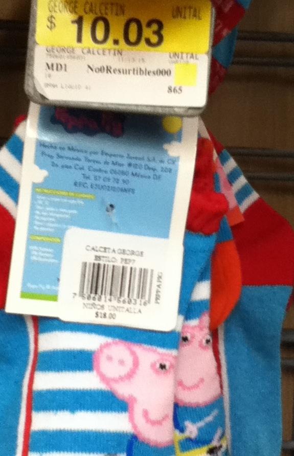 Walmart: Calcetines de pepa pig a $10.03
