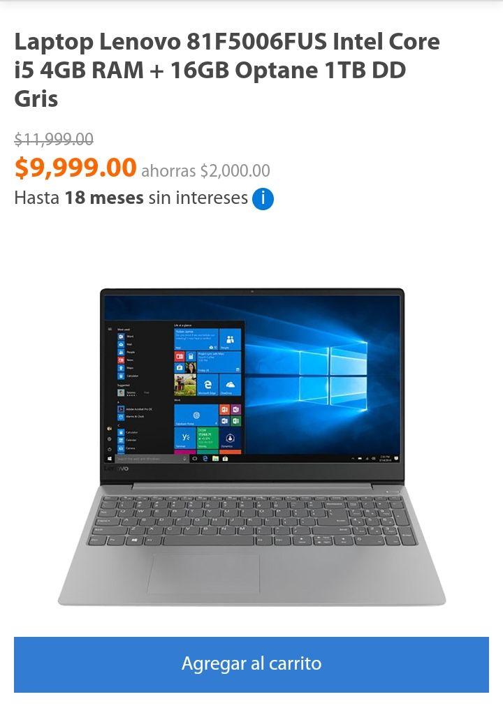 Walmart: Laptop Lenovo 81F5006FUS Intel Core i5 4GB RAM + 16GB Optane 1TB DD Gris DESCUENTO $500 Y $700 BBVA