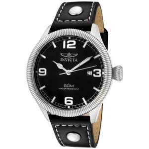 "Amazon mx: Invicta Men's 1460 ""Vintage Collection"" Reloj de acero inoxidable y el brazalete negro de cuero"