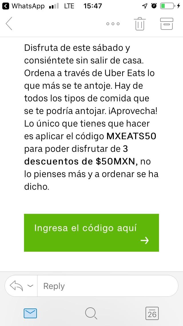 UberEats: -$50 en 3 órdenes pagando en efectivo