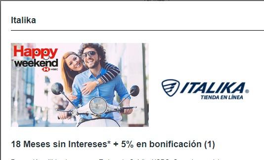 Motos Italika y HSBC: 18 Meses sin Intereses + 5% en bonificación