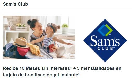 Sam's Club: 18 Meses sin Intereses + 3 mensualidades en tarjeta de bonificación al instante pagando con HSBC