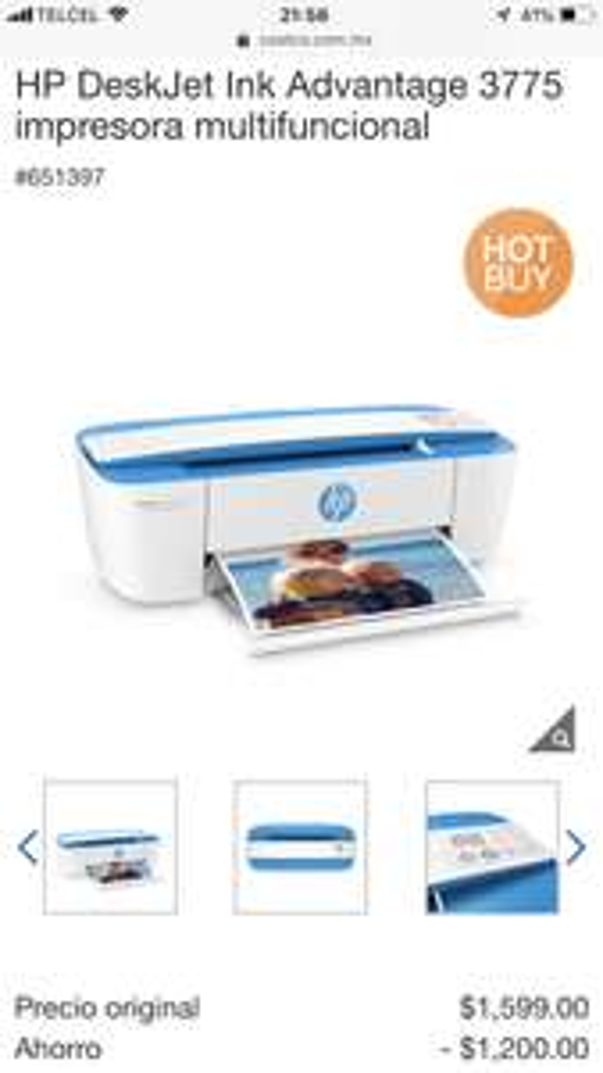 Costco: HP DeskJet Ink Advantage 3775 impresora multifuncional