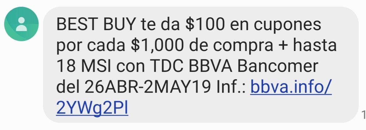 Best Buy: $100 en cupones por cada $1000 y hasta 18MSI con BBVA Bancomer.