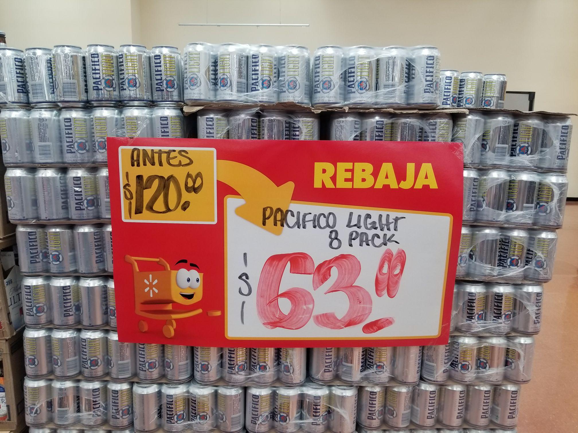 Walmart Ejército Mexicano 8 Pack Pacifico Light a $63